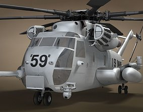 CH-53 Military Helicopter 3D Model - No Interior rigged