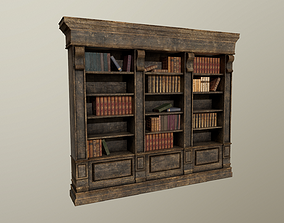 Old aged bookshelf with books 3D model PBR