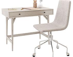 3D model West Elm Mid-Century Mini Desk Pebble and Slope 2