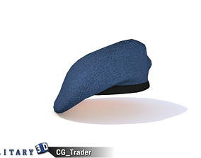 Military Beret Blue Lowpoly 3D Model Hat low-poly
