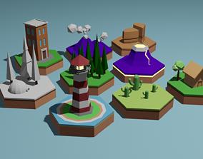 3D model Cartoon islands low poly set