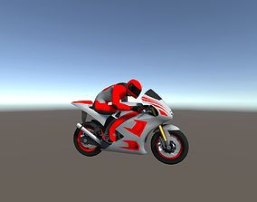 3D model Low Poly Racing Bike With Rider-5