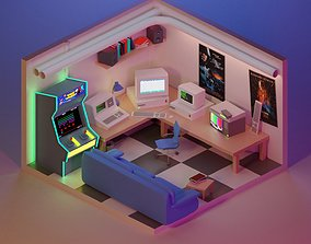 90s Retro Gaming Room 3D model game-ready