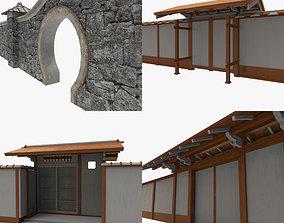 Modular Asian Wall Collection 3D asset game-ready
