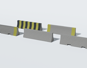 Concrete Barrier Collection 3D asset game-ready