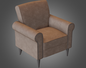 Armchair Brown Pbr Subdivision Ready 3D model realtime