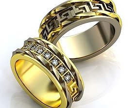 Gold Metal Wedding Rings with 3D print model