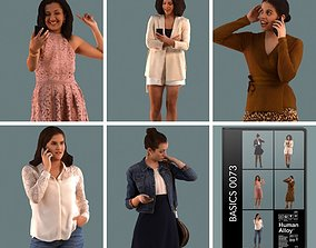 Set of 3D women on the phone