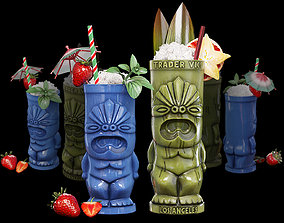TIKI glasses with cocktails 2 3D model