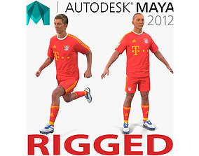 Soccer Player Bayern Rigged 2 for Maya 3D