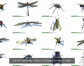 Low-Poly Wild Insects Collection Pack Rigged 3d model