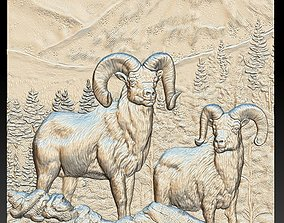 Rams in the Mountains - relief - 2019 3D print model