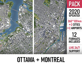 3D model Montreal and Ottawa