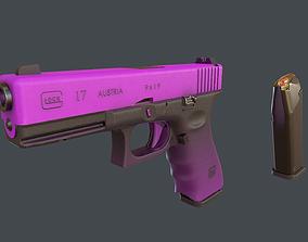 3D model animated Purple Glock 17 with magazine