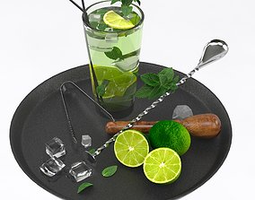 mojito cocktail set 3D