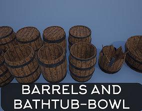 3D asset Wooden Barrels and Bathtub-bowl