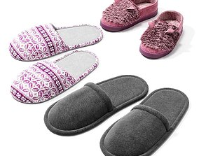 Slippers 3D asset game-ready
