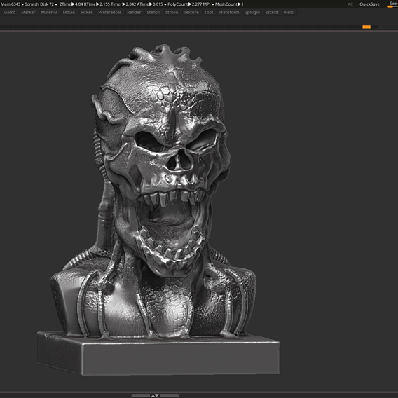 Angry Scream Skull 3d print model