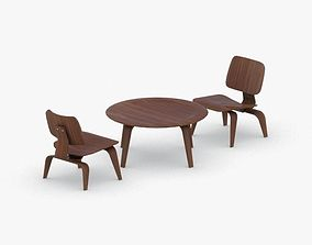 3D model VR / AR ready 0062 - Table and Chairs Set