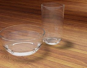 3D asset Glass and Bowl