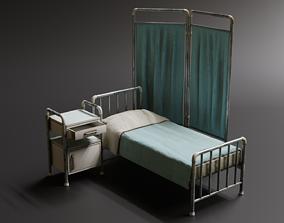 Hospital Bed - Divider - Nightstand 3D asset