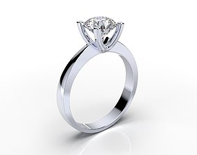 Engagement Solitaire Diamond Ring CAD 3D printable model