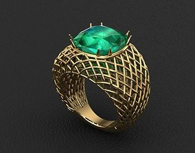 handcrafted wicker knitting ring 3D print model