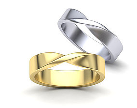 Mobius Wedding Mens Ring 5mm wide band