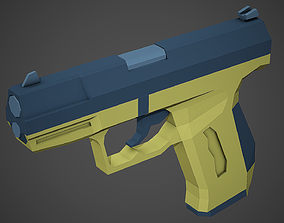 Stylized Walther P99 Pistol Low Poly Mobile Ready 3D model