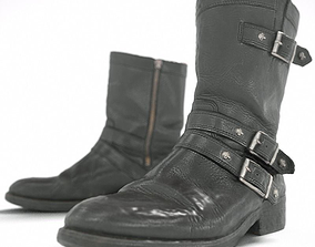 3D model Skull Black Leather Boots