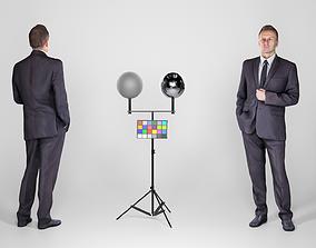 Respectable man in a black suit 128 3D asset