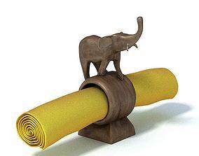 Wooden Elephant Napkin Holder 3D model