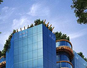 Modern residential building urban 3D model