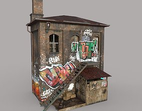 3D asset game-ready Abandoned House With Graffiti