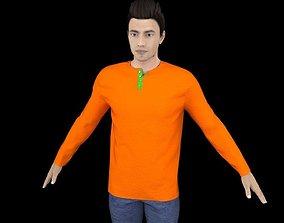 Male Full Sleeve Henly T-Shirt 3D asset