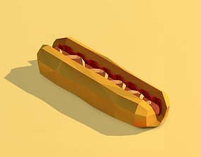3D model realtime Cartoon Low Poly Hot Dog