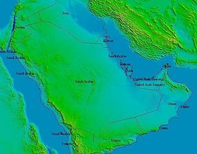 Terrain elevation topo model of Arabia