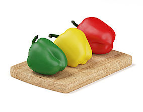 3D model Red Yellow and Green Peppers