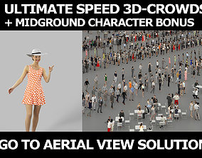 3d crowds and Aspiration in hat midground walking casual