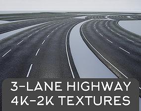 PBR 4K-2K Three-Lane Highway Roads Clean 3D asset