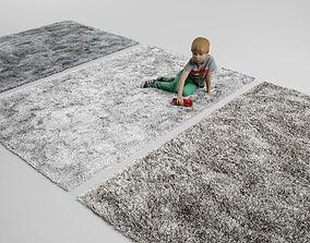 fluffy rug carpet 3D model