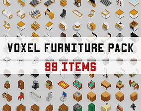 3D asset Voxel Furniture Pack 99 Items