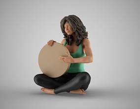 Woman Rhythm Solo with Frame Drum 3D printable model
