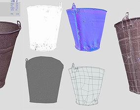old rusty bucket 3D model game-ready