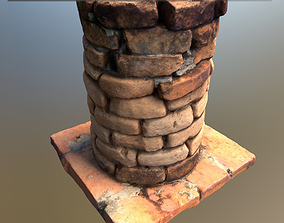 3D asset Scanned Brick Pillar