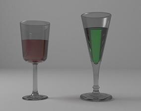 wine glass with liquor 01 3D model