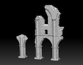 3D Ancient Cathedral Ruins High Poly