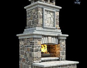 Outdoor Fireplace 014 3D asset