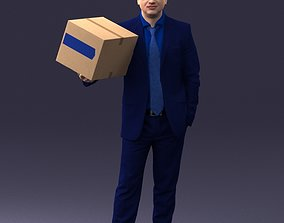 3D Man with box 0627