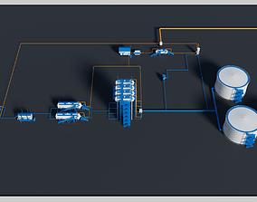 gazoline 3D model Oil refinery